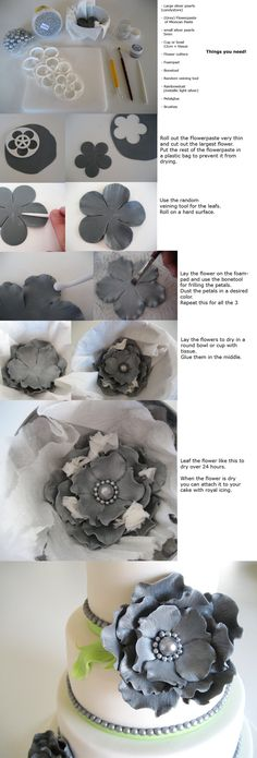 Tutorial Large Chic Flower; I know this is for a cake decoration, but it could also work for resin