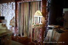 abajur vintage e cortininha de retalhos para casamento vintage