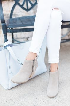 Suede ankle booties with woven detail along the back | Sole Society Zada