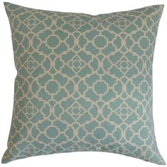 Add a pop of pattern to your living room or master suite with this lovely cotton pillow, showcasing a trellis motif in lagoon teal and cream.