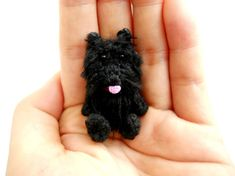 Black Scottish Terrier Crochet Miniature Arberdeen Dog by SuAmi