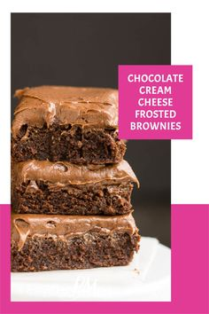 Chocolate Cream Cheese Frosted Brownies are super fudgy, moist, and slathered with a thick layer of chocolate cream cheese frosting. They are pure perfection. Homemade Desserts, Best Dessert Recipes, Easy Desserts, Delicious Desserts, Sweets Recipes, Bakery Recipes, Chocolate Cream Cheese Frosting, Brownie Frosting, Brownie Recipes