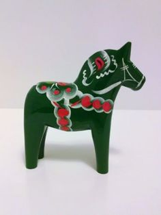 5-Swedish-Dala-Horse-DARK-GREEN-Folk-Art-Wood-Carving-by-Grannas-A-Olssons