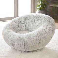 Gray Leopard Faux-Fur Groovy Swivel Chair #pbteen