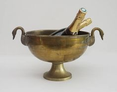 Large Champagne Bucket with Silver Plated Epns Centerpiece