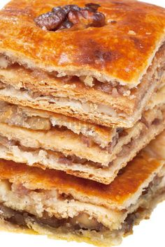 Pakhlava - Georgian dessert - yeasty pastry, hazelnuts or Circassian walnut, milled carnation, cardamom, crocus are used for preparation of pakhlava. Milled nuts and sugar are used for stuffing.