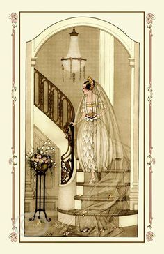 Beautiful Art Deco Vogue Bride Print, Vintage Wedding Gown, Veil, flower bouquet, Chandlier, Staircase,  Sepia Tones, Giclee Fine Art, 1922