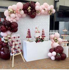 Balloon Garland, Balloon Decorations, Birthday Party Decorations, Baby Shower Decorations, Wedding Decorations, 18th Birthday Party, Sweet 16 Birthday, Mom Birthday, Burgundy Baby Shower
