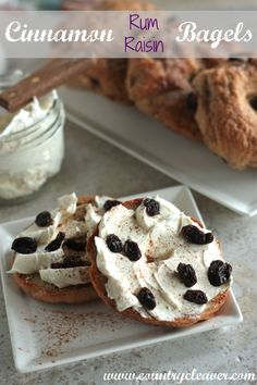 Make your own cinnamon rum raising bagels at home with raisins soaked in spiced rum and lots of swirled in cinnamon. It's the perfect New York style bagel Cinnamon Raisin Bagel, Low Carb Bagels, B Recipe, Homemade Bagels, Filling Food, Brunch, What's For Breakfast, Pound Cake Recipes, Sweet Bread