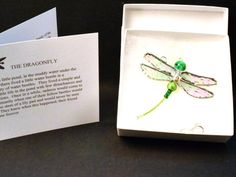 The DRAGONFLY SYMPATHY GIFT and Poem. Green stained Glass Dragonfly