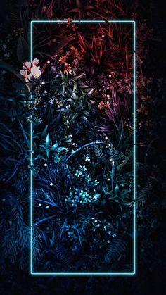 Neon Light Plants Nature - iPhone Wallpapers
