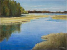 Reeds by the seashore by Olli Malmivaara, PanPastel on Pastelmat, 30 x 40 cm