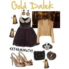Doctor who Gold Dalek Inspired Outift Doctor Who Outfits, Dalek, Torchwood, Iphone App, Inspired Outfits, Studs, Random Stuff, Fashion Beauty, Favorite Things