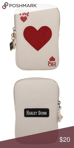 """Harley Quinn Coin Purse Wallet Ace of Hearts This is for 1 zipper coin pouch.  This coin pouch looks similar to a playing card - the Ace of Hearts, or in this case, the Harley Quinn (HQ) of Hearts!  It zips around the top area.  Officially licensed, made by Bioworld.  Theme:  DC Comics - Officially Licensed Size: Approx.  5"""" x 3.5"""" Brand:  Bioworld  CONDITION - New  Check out my Posh for more Harley Quinn items! Bioworld Bags Wallets"""