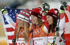 1.Michelle Gisin #GOLD 2.Mikaela Shiffrin 3.Wendy Holdener Pyeongchang, Mikaela Shiffrin, Adidas Jacket, Athletic, Gold, Jackets, Fashion, Down Jackets, Moda