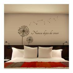 """Vinilos decorativos de naturaleza con dos dientes de león y la frase """"Nunca dejes de creer"""". Pegatinas o stickers de paredes de naturaleza con frase."""