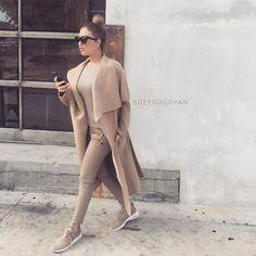 Zara jeans, top, and coat  Quay sunglasses   Nike AirMax Thea Nude