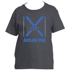 Ski Jackson Hole, Wyoming Crossed Snow Skis - Youth/Kid's T-Shirt