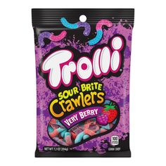 Trolli Sour Brite Crawlers Very Berry Gummi Candy, 5 oz Sour Candy, Candy Corn, Gummi Candy, Sour Gummy Worms, Berry Punch, Junk Food Snacks, Grocery Deals, Ice Cream Toppings, Birthday List