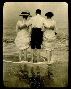Looking out to the sea. I love the old hats and swimming gowns.