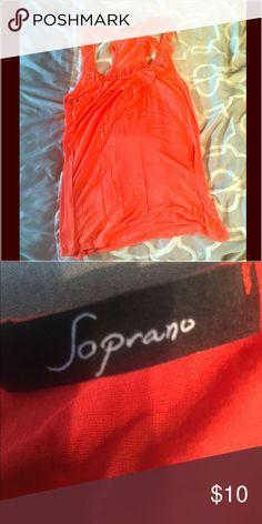 Orange racer back tank Soprano brand, size L. Ruffle detail around collar Soprano Tops Tank Tops