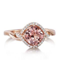 14K ROSE GOLD LOTUS GARNET/DIAMOND RING