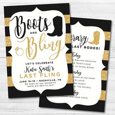 Items similar to Boots and Bling Bachelorette Party Invitation - Gold Glitter, country on Etsy Daddy Daughter Dance, Father Daughter Dance, Bachelorette Party Invitations, Gold Invitations, Fundraiser Themes, Cheer Banquet, Bling Party, School Auction, Western Theme