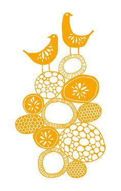 Citrus Orange Birds Art Print Signed Kitchen Wall by sugarloop