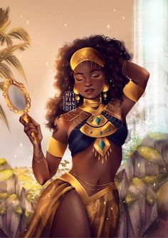 Black Love Art, Black Girl Art, Black Girl Magic, Oshun Goddess, Goddess Art, Orishas Yoruba, African Goddess, African Art Paintings, Black Art Painting