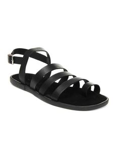 Ruosh Men Black Leather Sandals