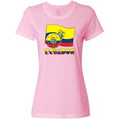 Desig  here features the Ecuadorian flag in yellow, blue and red. The coat of arms shows in, roughly, the center. Also in this design, a soccer ball or futbol, which includes the flag motif. Below it all, the word ECUADOR is found. It, too uses the flag motif and colors. Shows on Women's T-Shirt.<br /><br /> Great for showing support for TEAM ECUADOR during international soccer or futbol matches and tournaments. $19.99 ink.universalflags.com