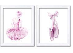 Light Pink White Ballerina Ballet Slippers Set by KidsNurseryArt