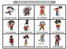 Afin de travailler le vocabulaire des pirates et la formulation de questions du type «est-ce que…» et les réponses affirmatives ou négatives, voici des planches de jeu…