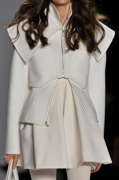 Structured jacket & short dress; all white fashion details // J Mendel Fall 2012