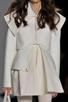 Structured jacket & short dress; all white fashion details // J Mendel Fall 2012