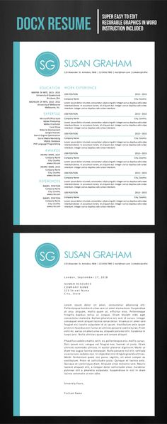 Clean Resume + Cover Letter Cv template, Resume cv and Resume - resume ms word format
