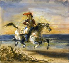 Eugene Ferdinand Victor Delacroix (1798-1863)-A Greek horseman, c.1880