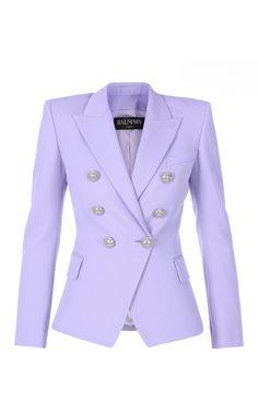 Double-Breasted Wool Grain De Poudre Blazer by Balmain Balmain Blazer Outfits, Blazer Fashion, Look Blazer, Blazer Dress, Classy Outfits, Chic Outfits, Fashion Outfits, Double Breasted Jacket, Stage Outfits