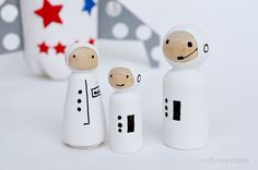 plastic bottle rocket ship with peg doll astronauts