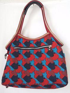 Kipling Bag Multi Color Print Blue Red Black with Andy Charm #Kipling #Hobo #bag