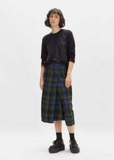 Wool Tartan Check Long Skirt by Junya Watanabe- La Garçonne