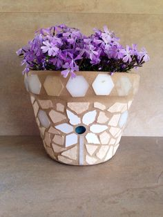Mosaic flower pot, rustic indoor planter, outdoor patio pot, herb plant storage, terracotta planter, handmade tile mosaic, garden container by moZEHicDesigns on Etsy