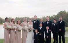 Bridal Party Wedding Portrait with Blush Pink Sequined Adrianna Papell Bridesmaid Dresses and Alfred Angelo Ivory, Lace Wedding Dress with Ivory and Pink Wedding Bouquets | Tampa Wedding Floral Designer Northside Florist