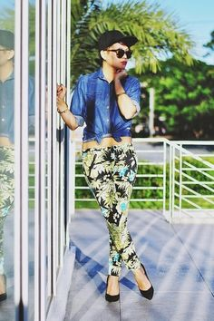 Discover this look wearing Black Snapback Hats, Blue Wrangler Shirts, Green Floral Print Pants - Summer Is Here by deathbyplatforms styled for Denim, BBQ Party in the Summer Floral Print Pants, Printed Pants, Women's Fashion Dresses, Casual Dresses, Floral Dresses, Chic Outfits, Spring Outfits, Movie Date Outfits, Black Snapback Hats