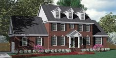 House Plan 3120-C Pendleton C with dormers - Traditional Brick Colonial design with large Family Room and formal Dining and Living Rooms. Master Suite downstairs and four bedrooms with Jack & Jill baths upstairs. Side-entry Garage with Bonus Room above.