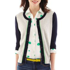 jcp Colorblock Cardigan in  from JCPenney on shop.CatalogSpree.com, your personal digital mall.