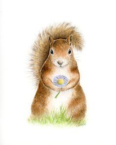 Squirrel print watercolor squirrel nursery wall art by SRorickArt