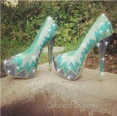Gorgeous Green Contrast Colour Rhinestone Platform High Heel Shoes
