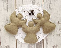 Set of 3 #Rustic #Christmas #Angels Burlap by VasilinkaStore on Etsy
