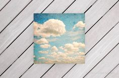 Shabby Chic Decor Cloud Photo Nature Decor Blue Wall Art White Clouds in a Blue Sky 8x8 inch Fine Art Photography Print Whimsy